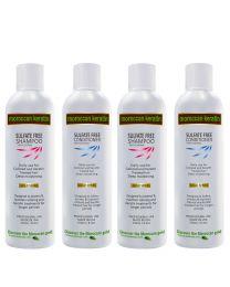 Moroccan Keratin GOLD SERIES Sulfate Free Shampoo & Conditioner 4pc SET